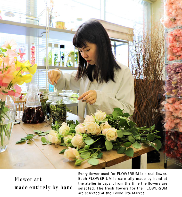 Flower art made entirely by hand